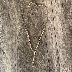 J. Crew faux diamond gold necklace.